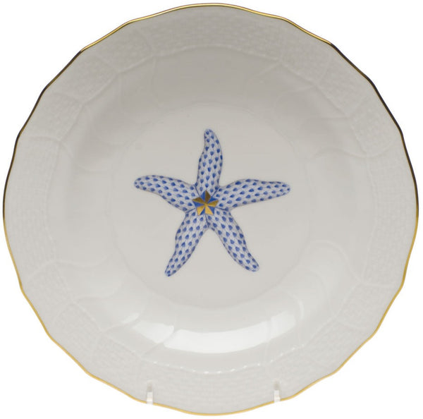 Herend Aquatic Dessert Plate, Blue Starfish 8.25""