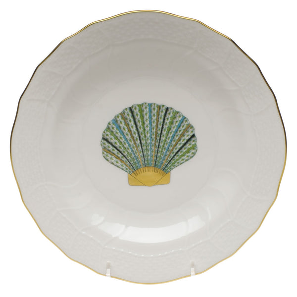 Herend Aquatic Dessert Plate, Green Scallop Shell 8.25""