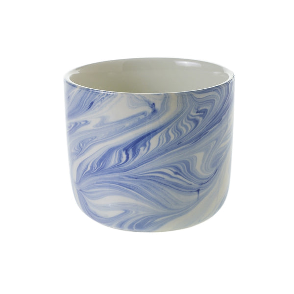 caspian blue/white marbleized pot large