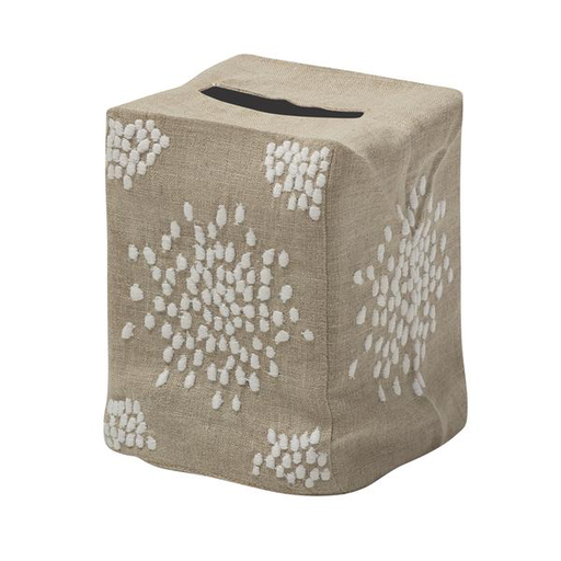 Pebbles Tissue Box Cover, White on Flax