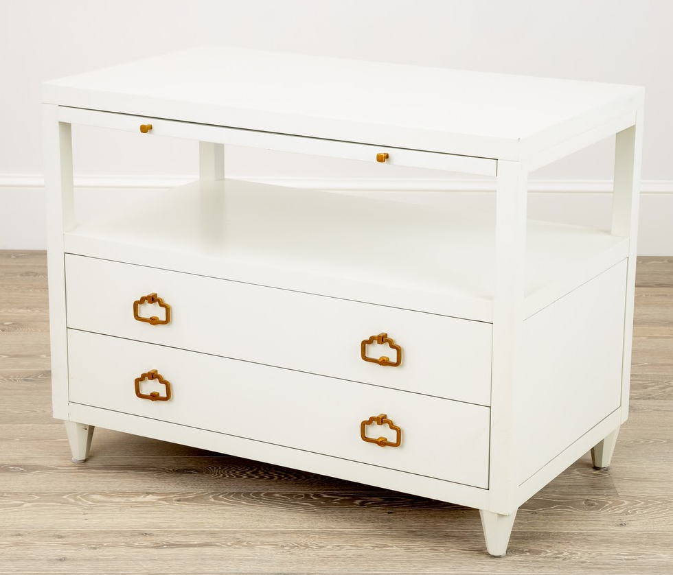 Renata Nightstand in White with Brass