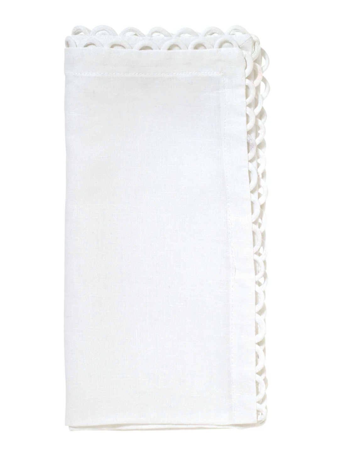 Loop Edge White Napkin, Set of 4