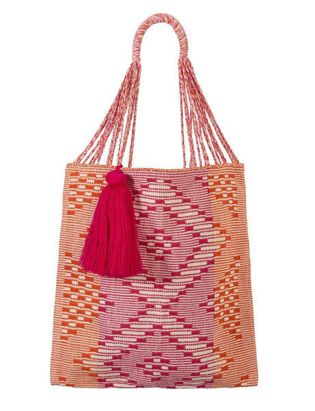 Bianca Woven Bag with Pink Tassel