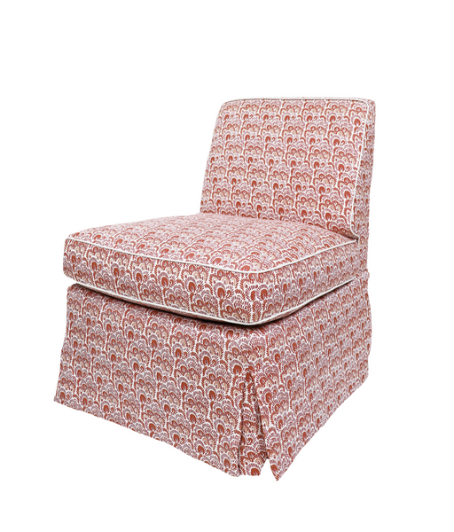 Billys Slipper Chair with Coral Bargello Fabric