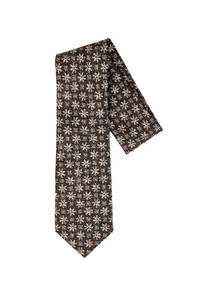 Robert Jensen Blue Flower Printed Tie, Brown