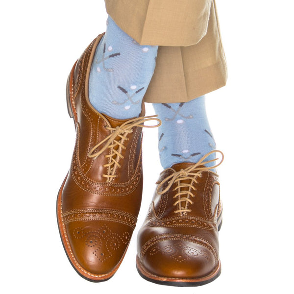 Dapper Classics Golf Club Mid Calf Socks, Sky Blue