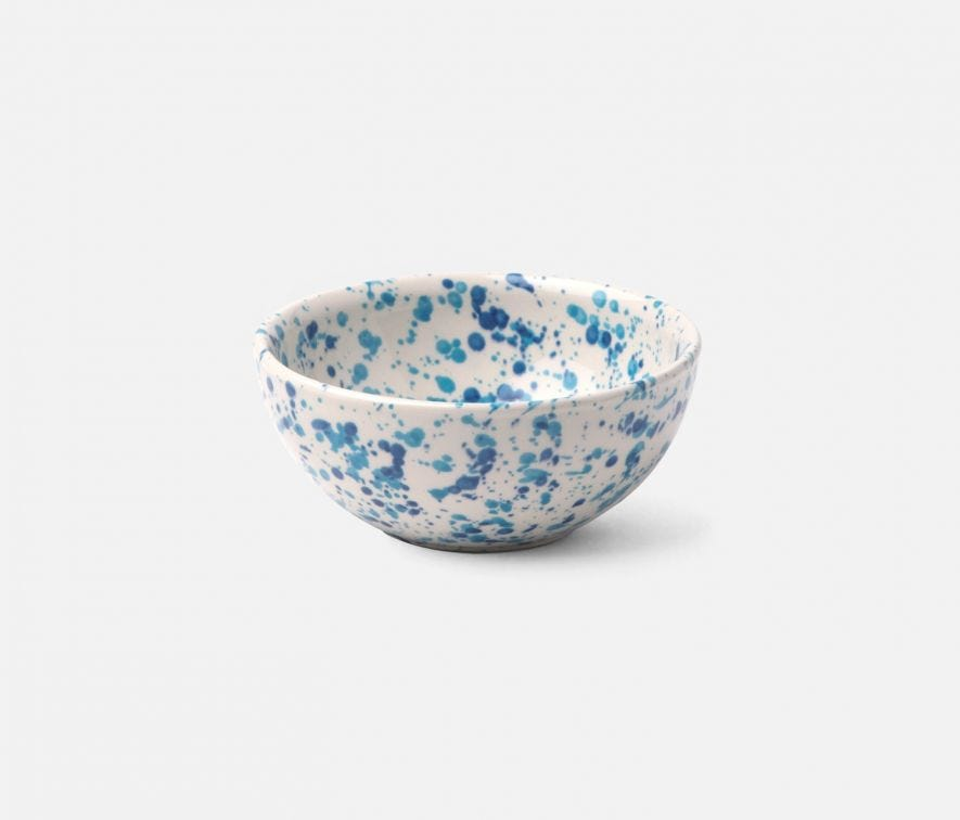 Mixed Blue Spongeware Cereal Bowl
