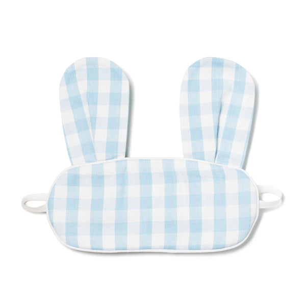Children's Eye Mask with Bunny Ears, Blue Gingham