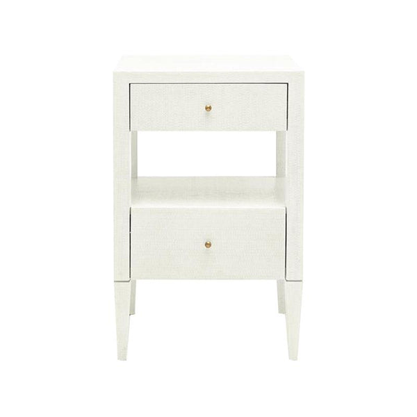 pristine white raffia single nightstand