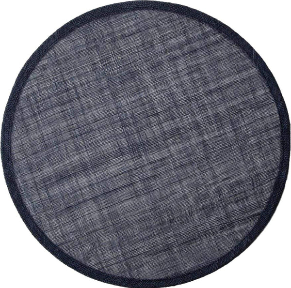 June Round Abaca Placemat, Dark Navy
