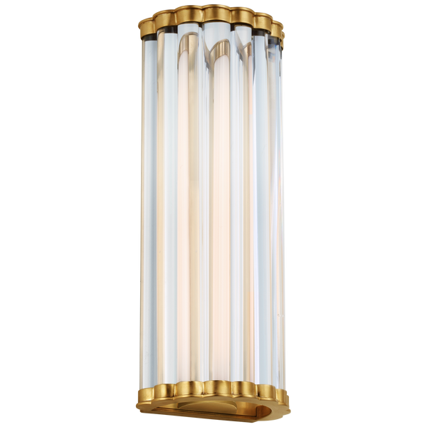 "Kean 14"" Sconce in Antique-Burnished Brass with Clear Glass Rods"