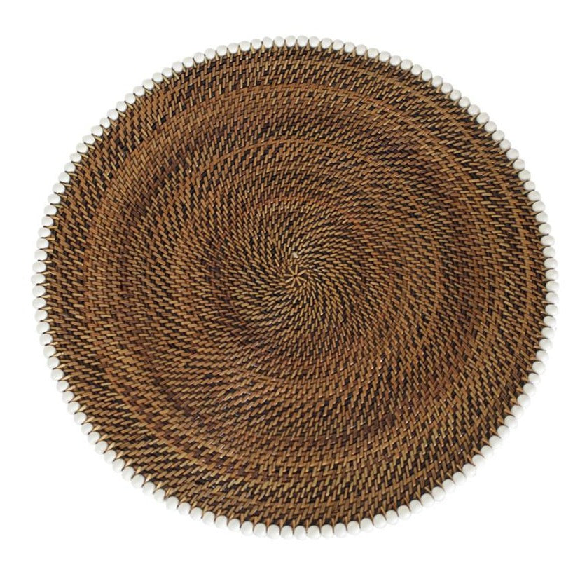 Round Placemat with White Beads