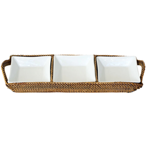 Rectangular Tray with 3 Square Dishes