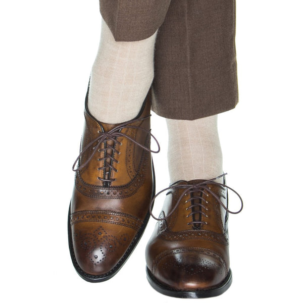 Dapper Classics Ribbed Cashmere Blend Mid Calf Socks, Camel