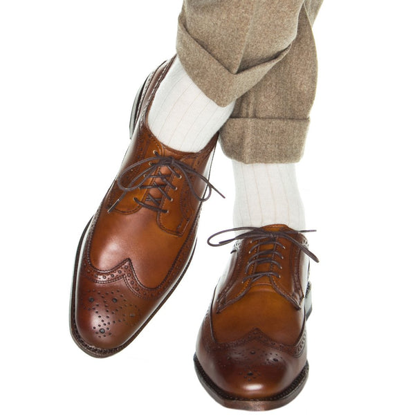 Dapper Classics Ribbed Cashmere Blend Mid Calf Socks, Natural