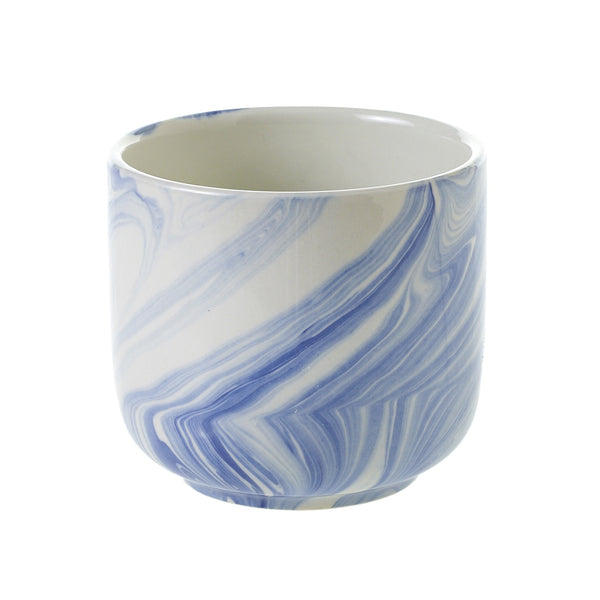 caspianblue/white marbleized pot small