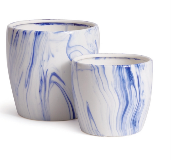 Blue and White Marbelized Pot, Large