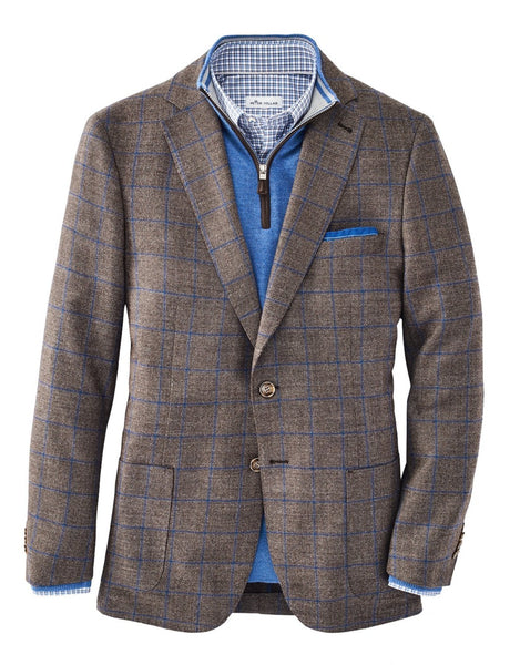 Peter Millar Classic Windowpane Soft Jacket, Espresso