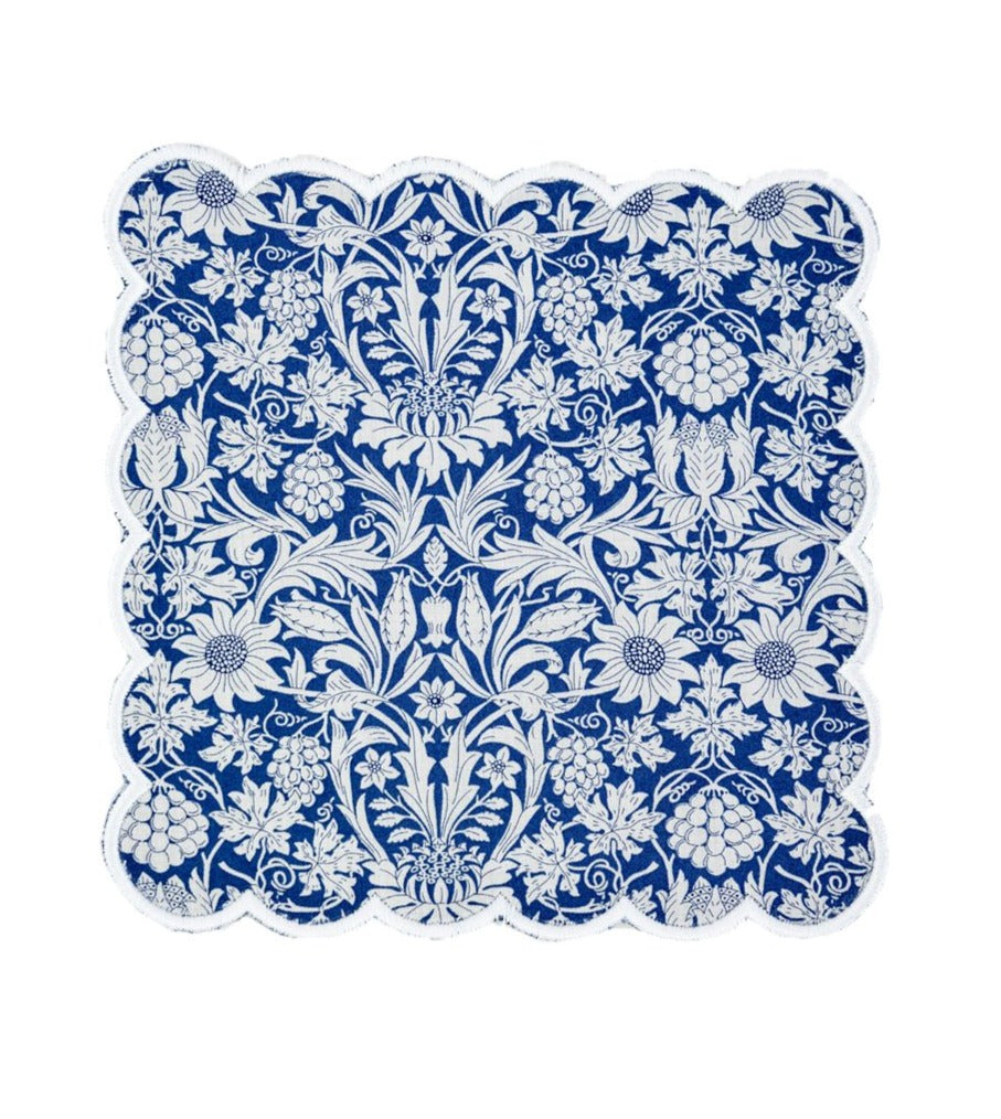 Cocktail Napkins, Liberty London, Mortimer, White Scallop with Sapphire Back, Set of 4