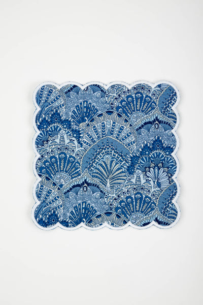 Cocktail Napkins, Liberty London, Peacock Parade, White Scallop & Cool Blue Back, Set of 4
