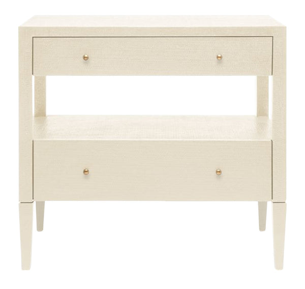 "Conrad Off-White Raffia Nightstand, 32""H"