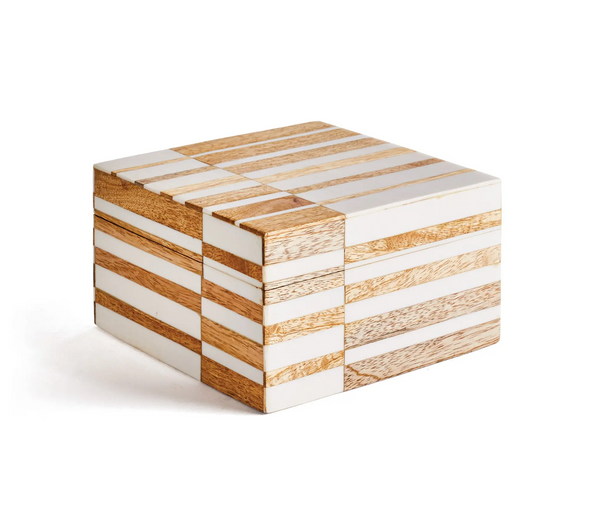 Contrasting Pattern Natural Wood Box