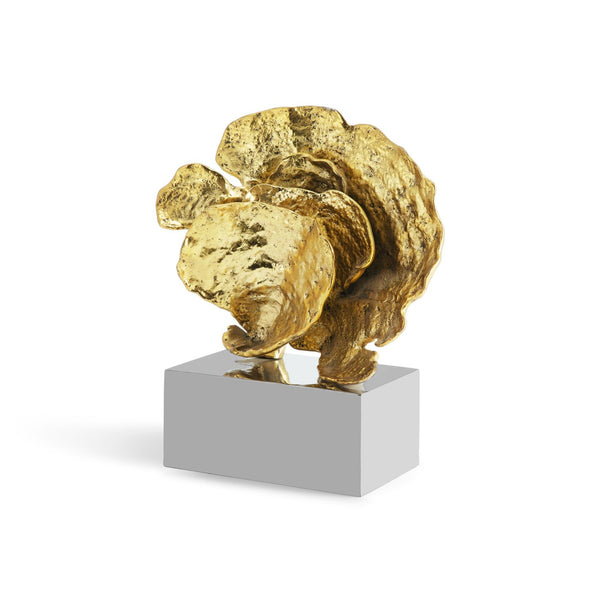 Gold Cup Coral Sculpture on Pedestal
