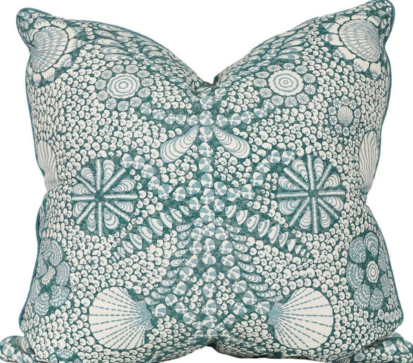 shell grotto pillow with ocean trim