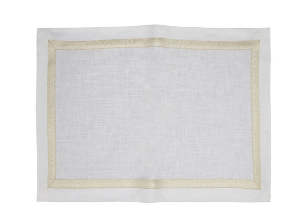Linen Placemats, White/Gold Metallic Tape