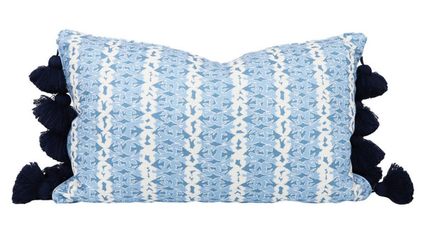 dove stripe blue lumbar pillow with tassel trim