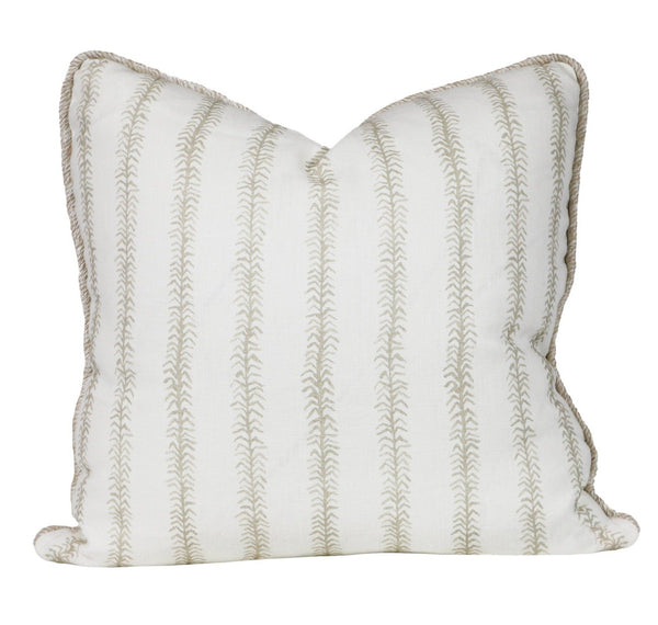 viney stripe pillows in bone with contrast cord