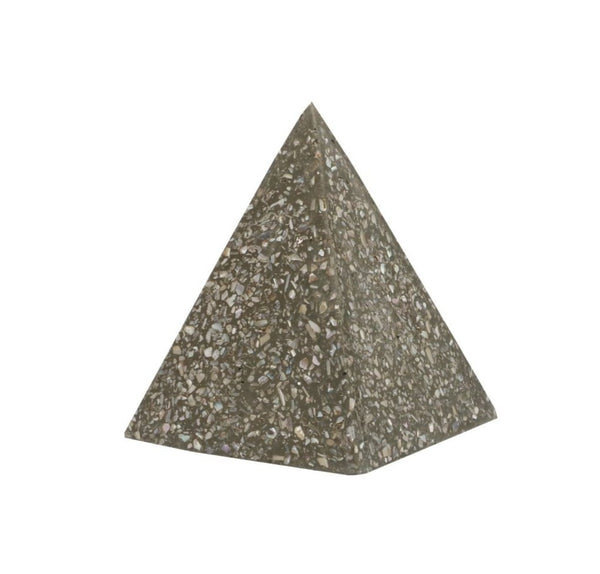 abalone shell and concrete pyramid, small