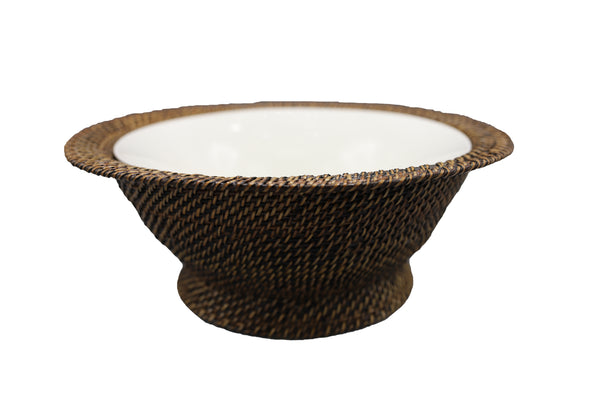 Round Basket with Stand and Flared Porcelain Bowl