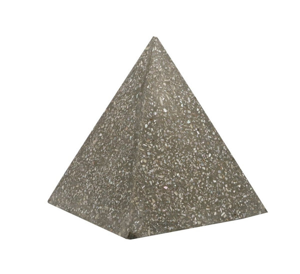 abalone shell and concrete pyramid large