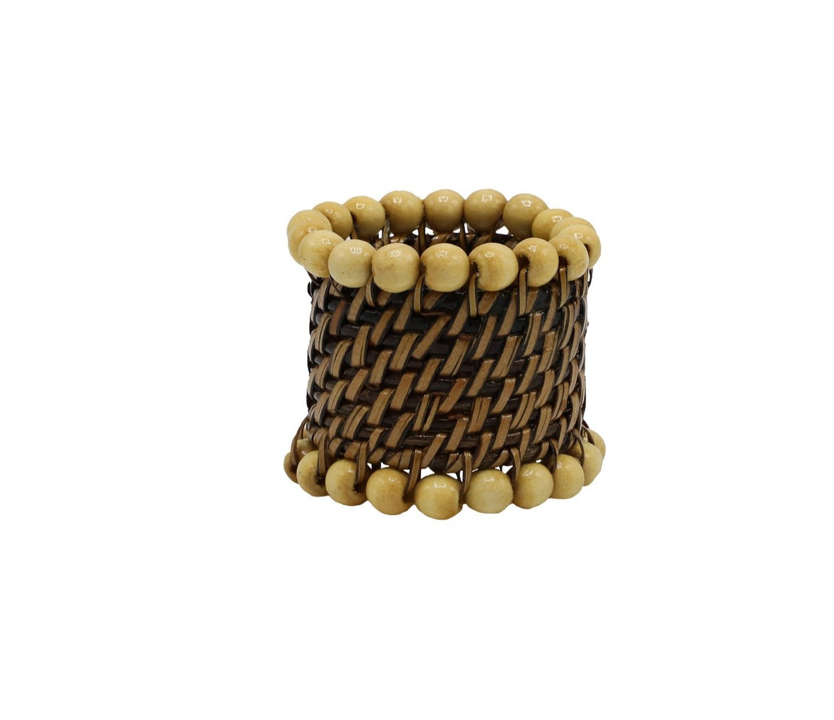 round napkin ring with beads, natural