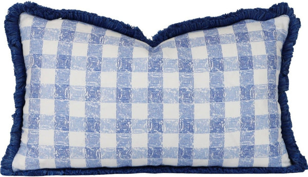 painters gingham seersucker pillow with brush fringe