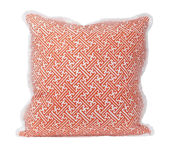 Outdoor Campbell Sorbet Pillow with Brush Fringe