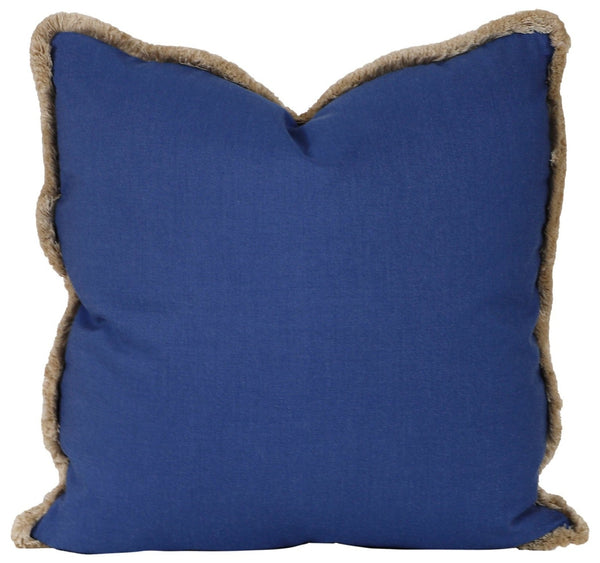 blueberry outdoor pillow with brush fringe