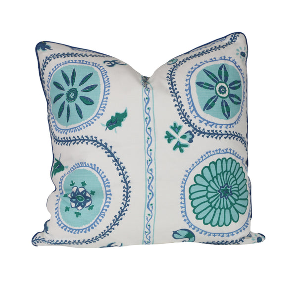 suzani luv blue pillow with brush fringe