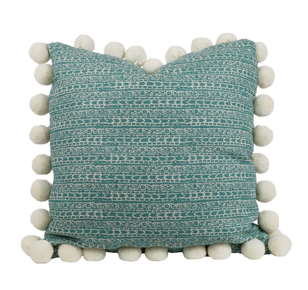 char nile pillow with jumbo pom fringe