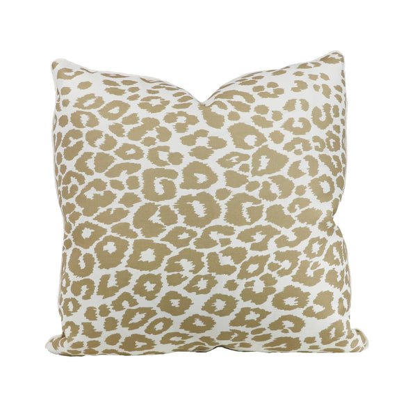 Iconic leopard linen outdoor pillow