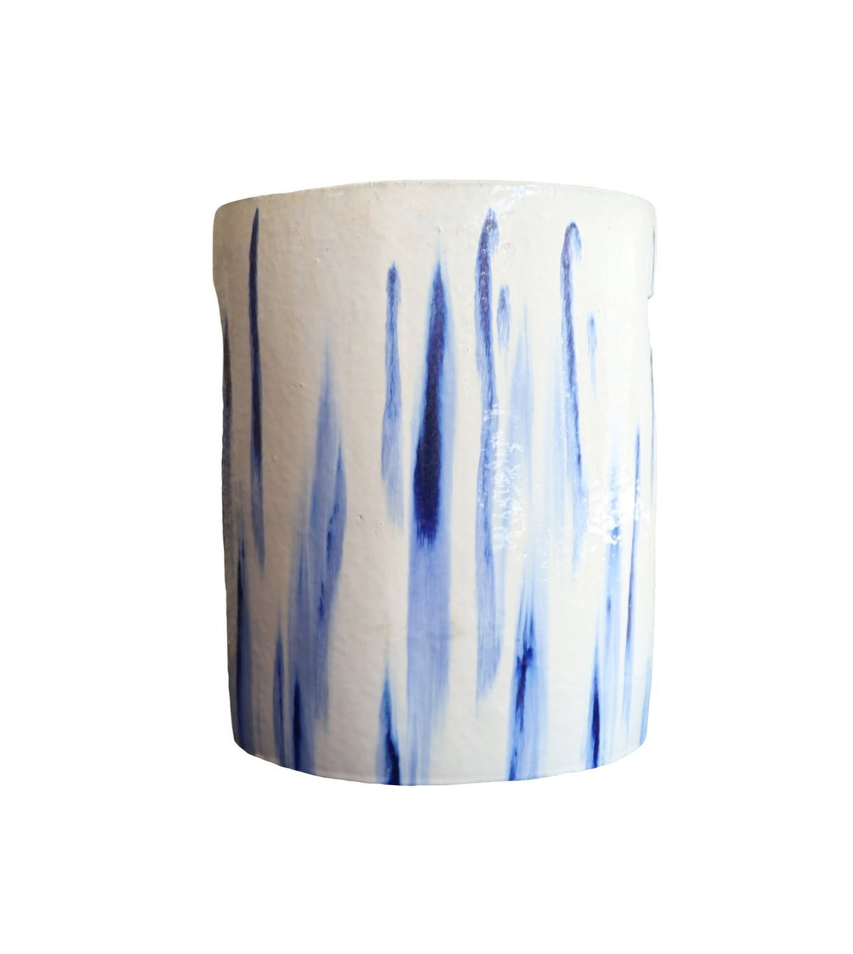 Cylinder Stool in White and Blue Glaze