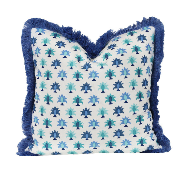 rohet flora blue pillow with fringe
