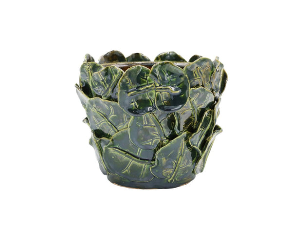 medium sea grape leaves pot in green luster