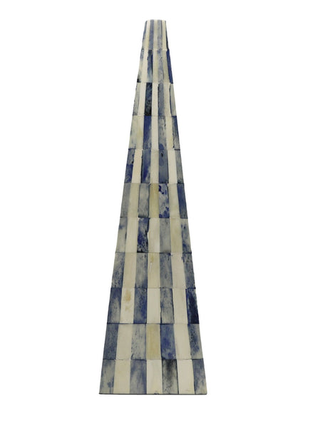 ossian blue and white bone obelisk pyramid large