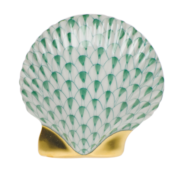 Herend Miniature Scallop Shell, Green
