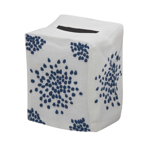 Pebbles Tissue Box Cover, Navy