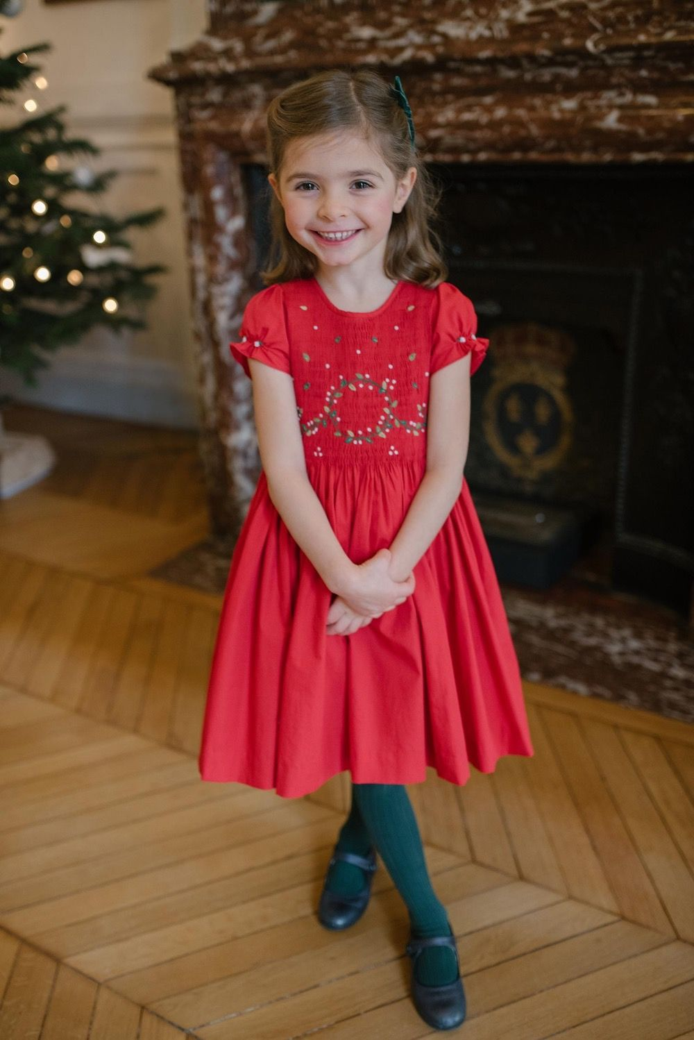 Clara Red Balloon Sleeve Dress with Christmas Wreath
