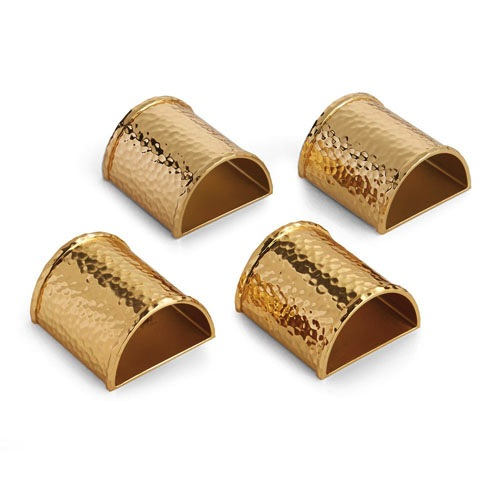 Hammertone Napkin Ring Set in Goldtone