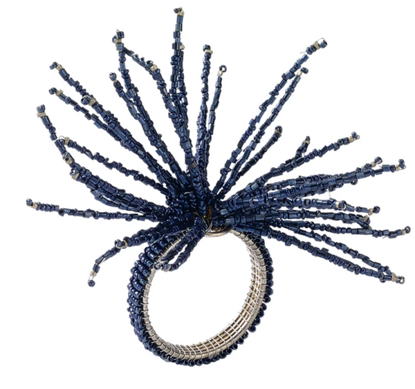 spider bead burst napkin ring, navy
